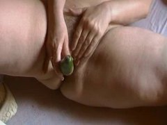 BBW Hun Hairy Mature Playing With A Cucumber