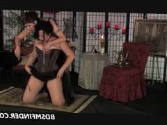 Mature Femdom Spanking In Stockings