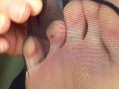 Black Pantyhose foot tease 3