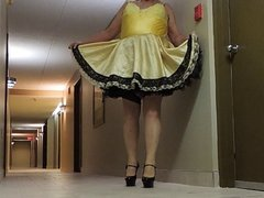 Sissy Ray in Hotel Corridor in Sissy Dress and Sexy Heels