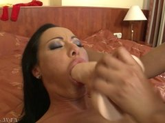 Sultry brunette gets serviced in every hole by ebony babe