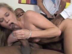 Young wife filled with black jizz in front of hubby