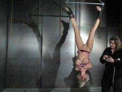 blonde upside down suspended