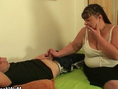 Fat mom-in-law jumps at his meat