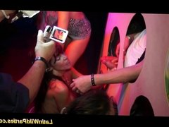 Wild latina busty babe takes many blowjobs at the party