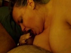 BBW Sucking My Cock While I Squeeze Her Fat Belly!