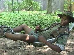 Ebony soldiers masturbating
