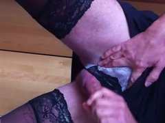 Stroking my cock with panties and stockings on