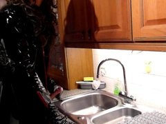 kitchen sink wank in pvc and thigh boots