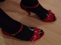 Cum on nylon feet in heels