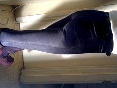 Black spandex glamour jeans for men