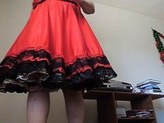 Sissy Ray in Red Taffeta Skirt and gold petticoat 2