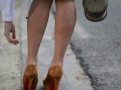 hooker in Shortest miniskirt in the world & high heels
