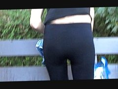 Hot tight shinny leggings ass with vpl thong showing