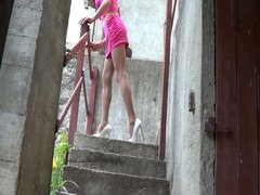 Pink on stairs