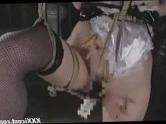 Tied Asian In Stockings Whipped And Hot Waxed