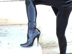 Latex Lady in public
