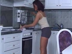 Cute teen fucked in the kitchen
