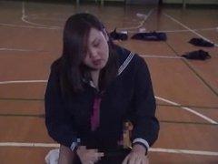 Japanese Schoolgirl Strap on Gangbang 3 Guys