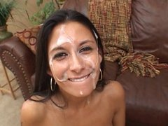 Big White Gooey Facial On Brunette