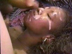 Ebony MILF Face Covered in Cum