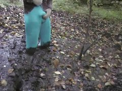 blue tights in the mud