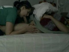 girlfriend tries to wake up her bf with a blowjob