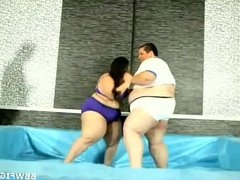 Fat and huge boobed bbw wrestles in the ring