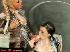 Bukkake lesbians sprayed by gloryhole