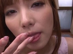 Asian cutie takes a big load in her mouth and swallows it
