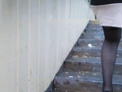 Chick flashing stockings going upstairs