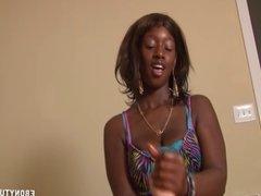 Interracial Handjob In The Bedroom