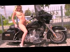 sex and motorcycles - this gorgeous blonde undresses