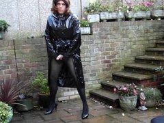 Sext Tranny outside wanking in PVC rain coat and mini skirt