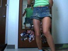 Green Shirt & Denim Skirt