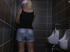 Mature slut mom gets fucked on a toilet