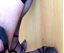 Cumming on my stockinged feet