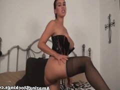 Busty shaved slut in black stockings jerk off instructions