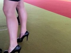 Business women with heels and legs that goes for miles