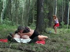 Older Couple With Naughty Teen Outdoor Sex