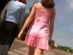 teen in pink upskirt
