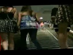 two teen upskirts on the escalator