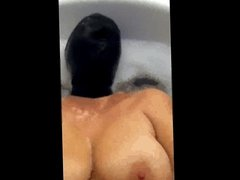 Bathroom fun masturbation with black latex hood mask