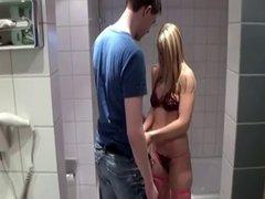 german blonde amateur girl sucks in bathroom
