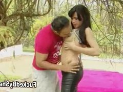Tattooed tranny lover banged and covered in jizz