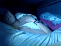 Sexy Brunette Masturbating On Bed  In The Dark