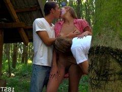 Outdoor threesome pleasuring