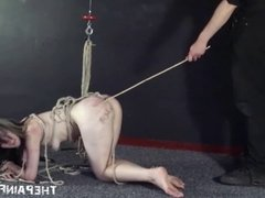 Hardcore slave sex and submission of fucked slave tied