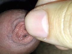 Playing with my tight foreskin and cumshot (no hands)