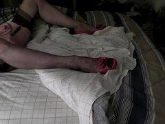 RHT stockings, sheer panties, red heels ... and .. cum..